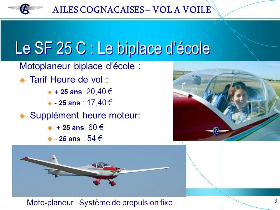 AILES COGNACAISES – VOL A VOILE 6 Le SF 25 C : Le biplace décole Moto-planeur : Système de propulsion fixe. Motoplaneur biplace décole : Tarif Heure d