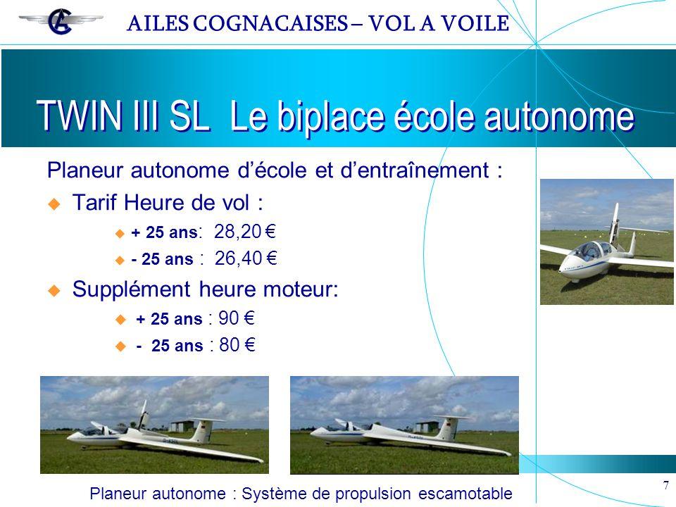 AILES COGNACAISES – VOL A VOILE 7 TWIN III SL Le biplace école autonome Planeur autonome : Système de propulsion escamotable Planeur autonome décole e