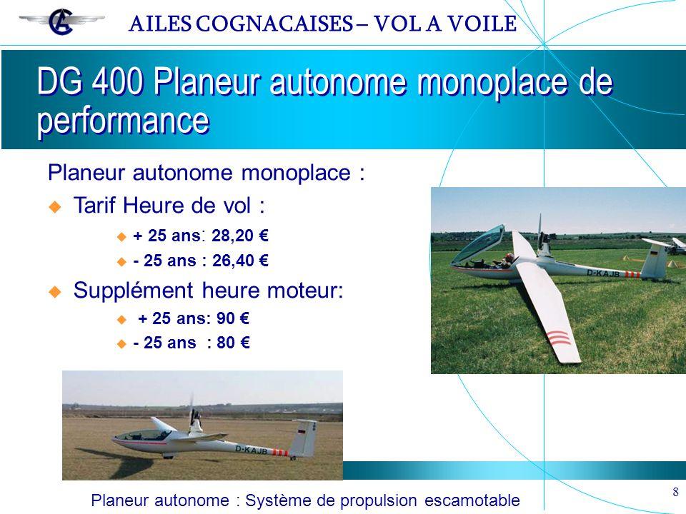 AILES COGNACAISES – VOL A VOILE 8 DG 400 Planeur autonome monoplace de performance Planeur autonome monoplace : Tarif Heure de vol : + 25 ans : 28,20