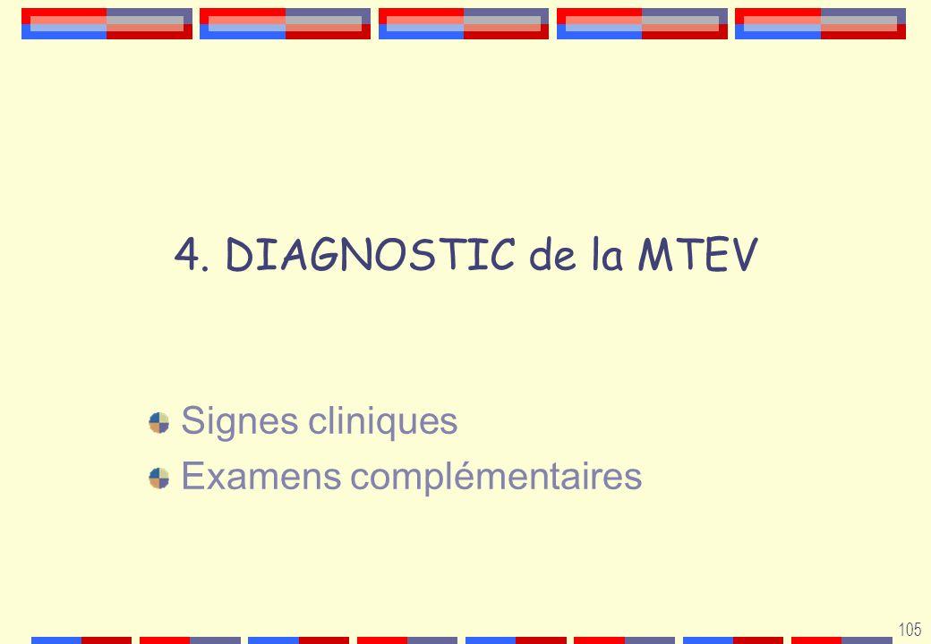 105 4. DIAGNOSTIC de la MTEV Signes cliniques Examens complémentaires