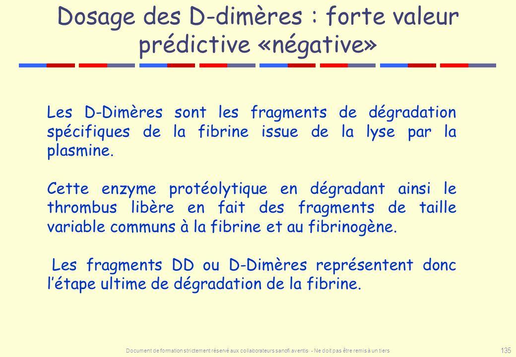 Document de formation strictement réservé aux collaborateurs sanofi aventis - Ne doit pas être remis à un tiers 135 Dosage des D-dimères : forte valeu