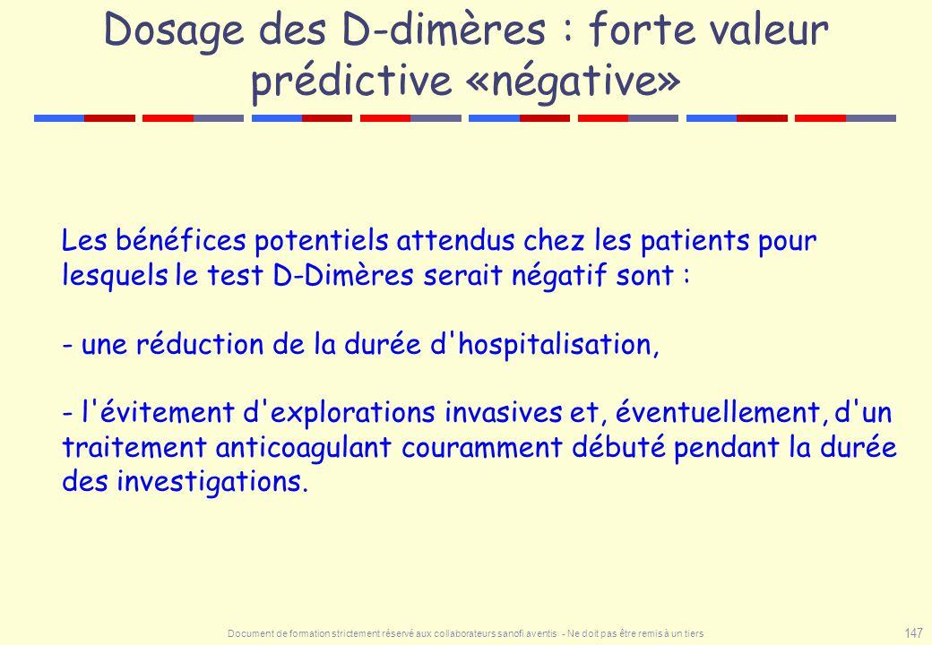 Document de formation strictement réservé aux collaborateurs sanofi aventis - Ne doit pas être remis à un tiers 147 Dosage des D-dimères : forte valeu