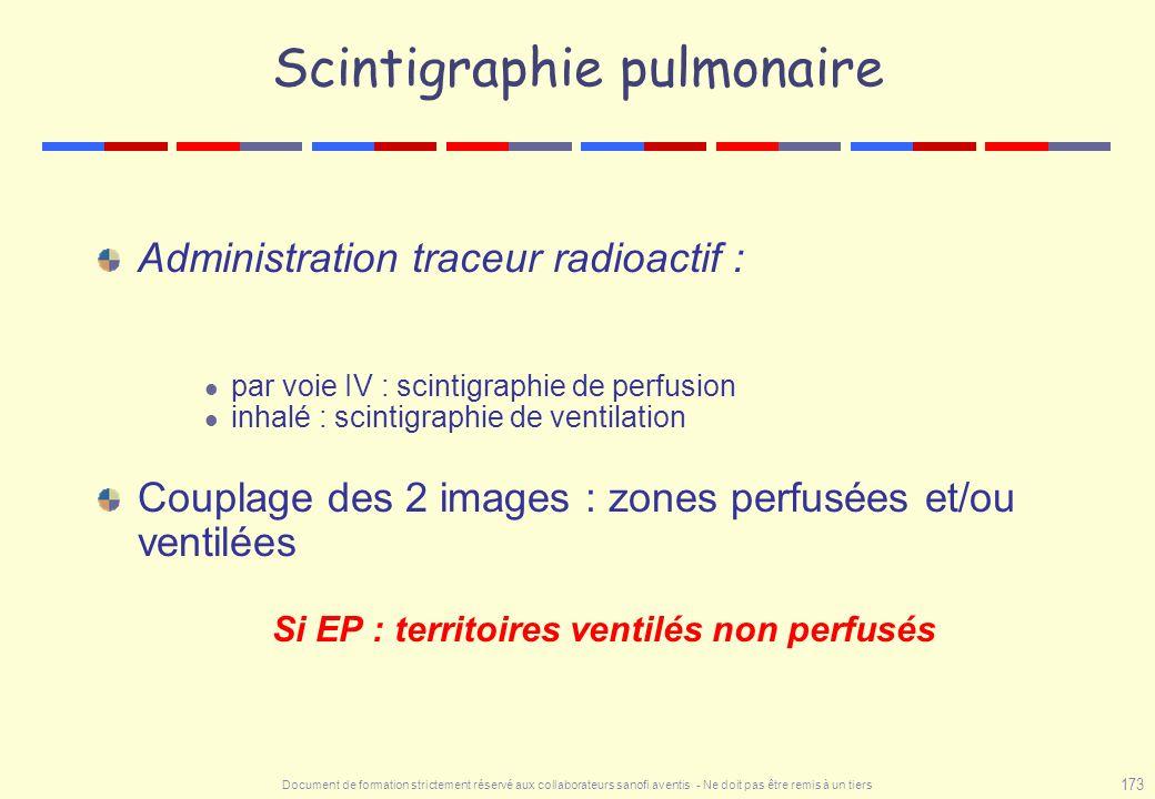 Document de formation strictement réservé aux collaborateurs sanofi aventis - Ne doit pas être remis à un tiers 173 Scintigraphie pulmonaire Administr