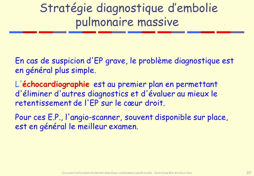 Document de formation strictement réservé aux collaborateurs sanofi aventis - Ne doit pas être remis à un tiers 207 Stratégie diagnostique dembolie pu
