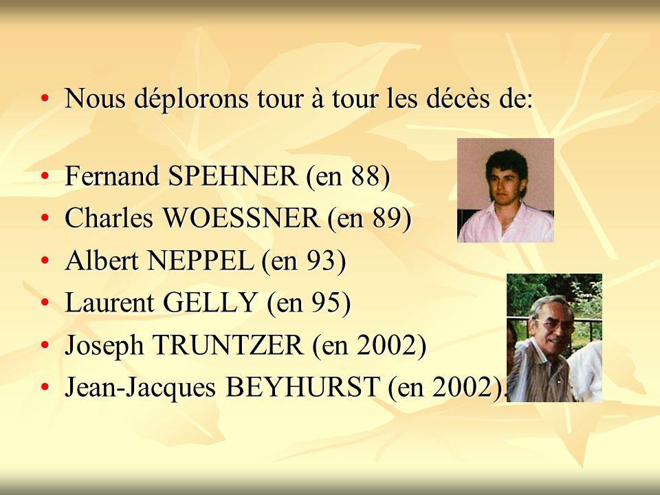 Nous déplorons tour à tour les décès de:Nous déplorons tour à tour les décès de: Fernand SPEHNER (en 88)Fernand SPEHNER (en 88) Charles WOESSNER (en 89)Charles WOESSNER (en 89) Albert NEPPEL (en 93)Albert NEPPEL (en 93) Laurent GELLY (en 95)Laurent GELLY (en 95) Joseph TRUNTZER (en 2002)Joseph TRUNTZER (en 2002) Jean-Jacques BEYHURST (en 2002).Jean-Jacques BEYHURST (en 2002).