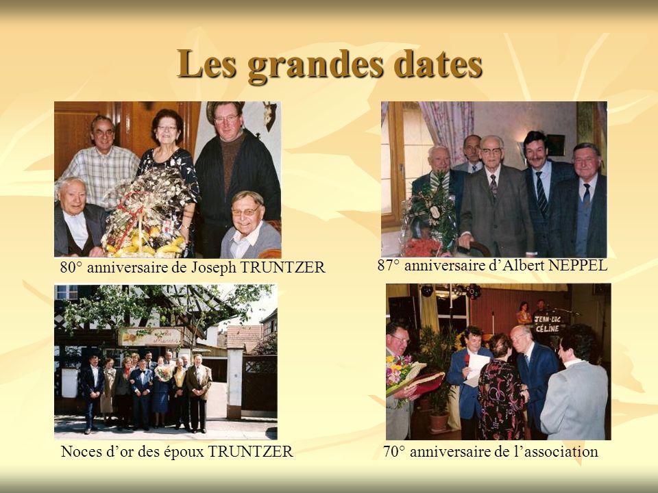 Les grandes dates 87° anniversaire dAlbert NEPPEL Noces dor des époux TRUNTZER 80° anniversaire de Joseph TRUNTZER 70° anniversaire de lassociation