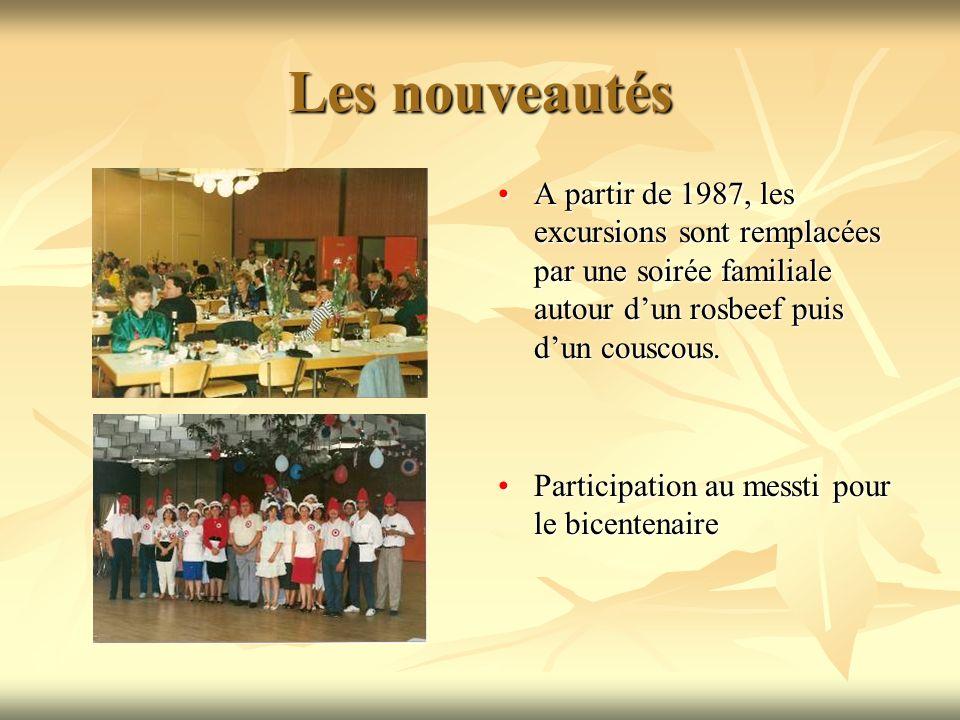 Les nouveautés A partir de 1987, les excursions sont remplacées par une soirée familiale autour dun rosbeef puis dun couscous.A partir de 1987, les excursions sont remplacées par une soirée familiale autour dun rosbeef puis dun couscous.