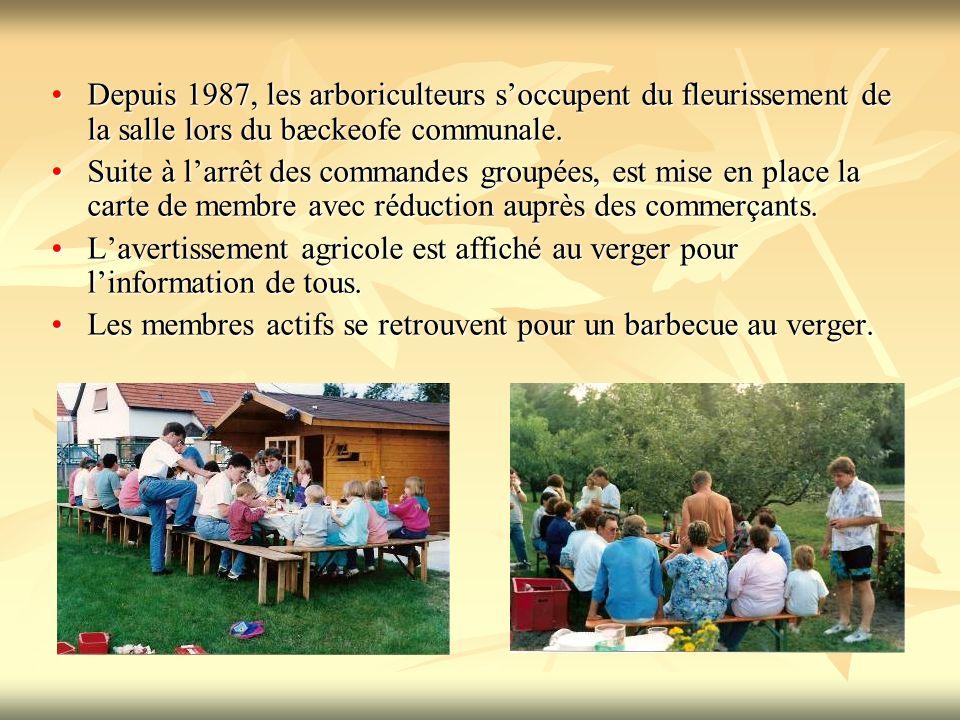 Depuis 1987, les arboriculteurs soccupent du fleurissement de la salle lors du bæckeofe communale.Depuis 1987, les arboriculteurs soccupent du fleurissement de la salle lors du bæckeofe communale.