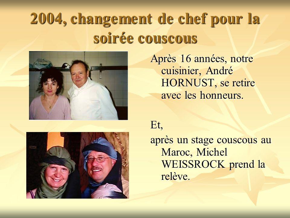 2004, changement de chef pour la soirée couscous Après 16 années, notre cuisinier, André HORNUST, se retire avec les honneurs.