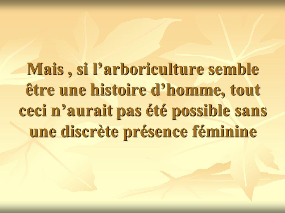 Mais, si larboriculture semble être une histoire dhomme, tout ceci naurait pas été possible sans une discrète présence féminine