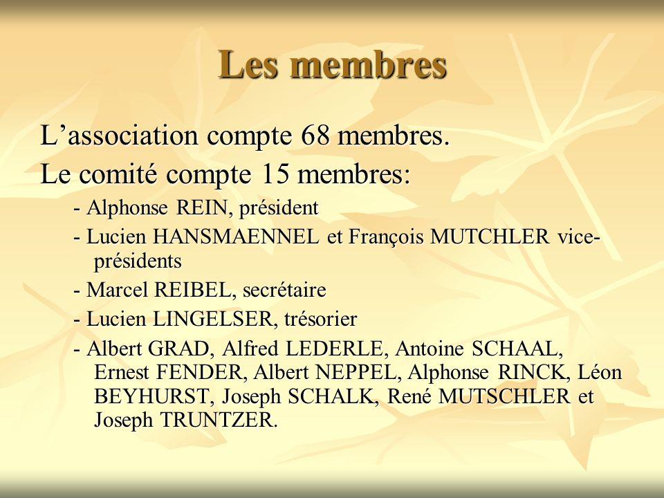 Les membres Lassociation compte 68 membres.