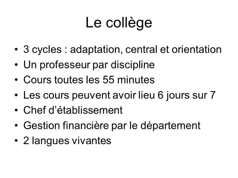 Le collège 3 cycles : adaptation, central et orientation Un professeur par discipline Cours toutes les 55 minutes Les cours peuvent avoir lieu 6 jours