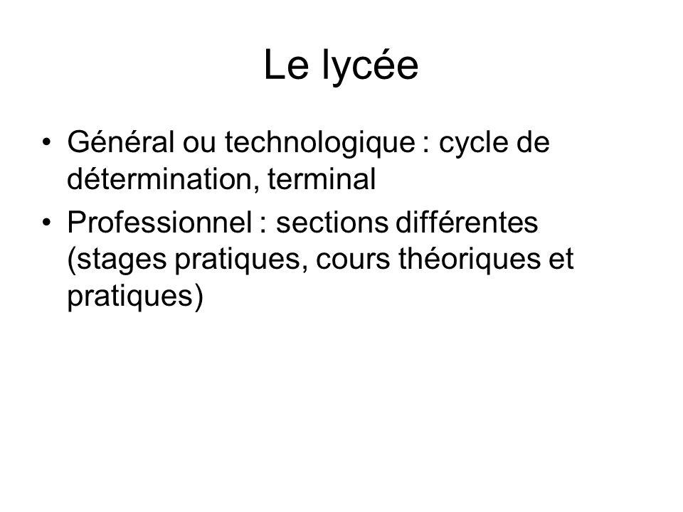 Le lycée Général ou technologique : cycle de détermination, terminal Professionnel : sections différentes (stages pratiques, cours théoriques et prati