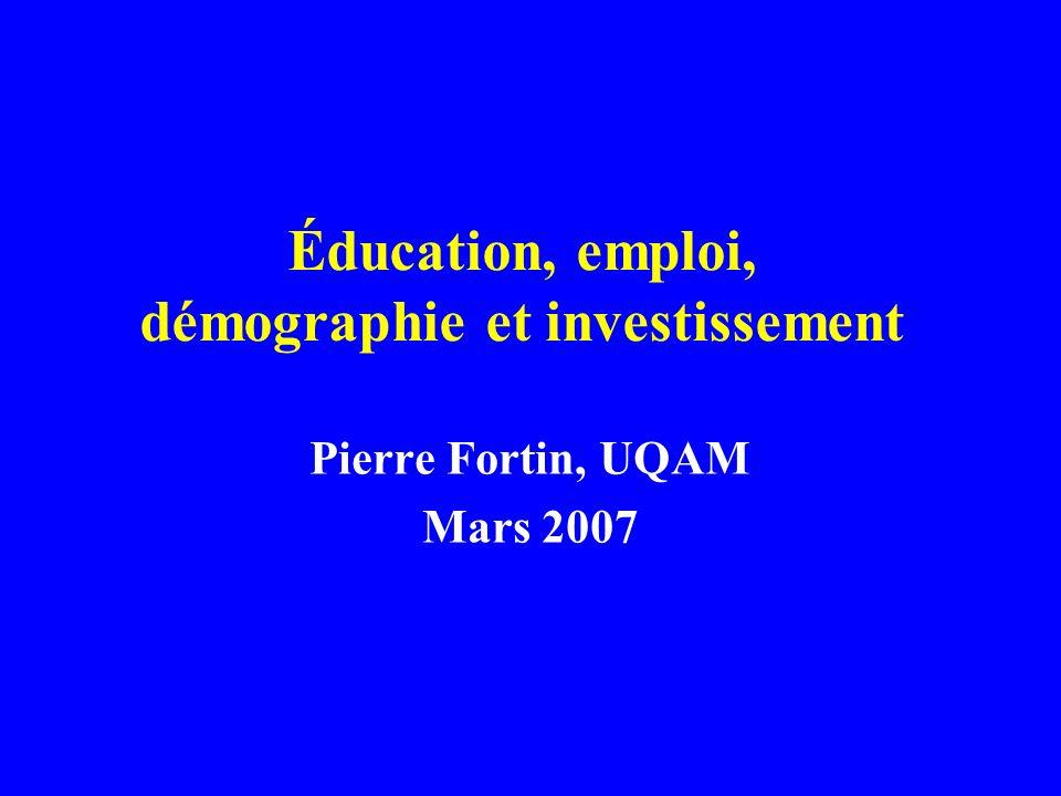 Éducation, emploi, démographie et investissement Pierre Fortin, UQAM Mars 2007