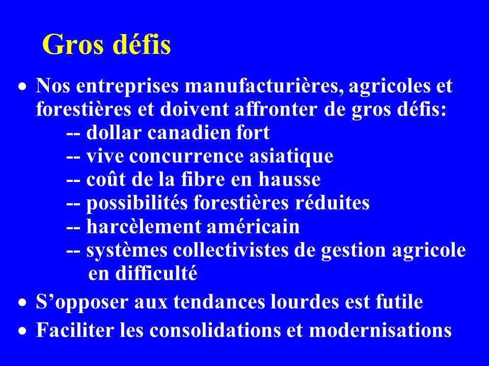 Gros défis Nos entreprises manufacturières, agricoles et forestières et doivent affronter de gros défis: -- dollar canadien fort -- vive concurrence asiatique -- coût de la fibre en hausse -- possibilités forestières réduites -- harcèlement américain -- systèmes collectivistes de gestion agricole en difficulté Sopposer aux tendances lourdes est futile Faciliter les consolidations et modernisations