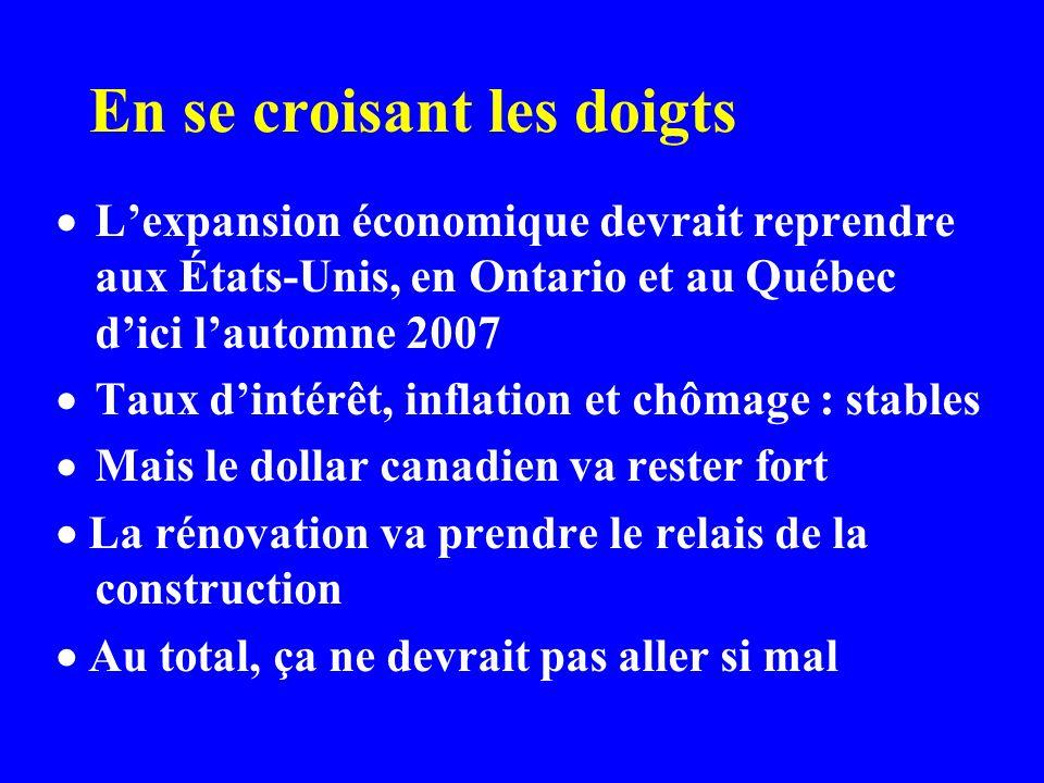 En se croisant les doigts Lexpansion économique devrait reprendre aux États-Unis, en Ontario et au Québec dici lautomne 2007 Taux dintérêt, inflation et chômage : stables Mais le dollar canadien va rester fort La rénovation va prendre le relais de la construction Au total, ça ne devrait pas aller si mal