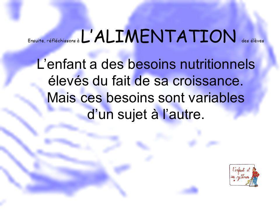 Ensuite, réfléchissons à LALIMENTATION des élèves Lenfant a des besoins nutritionnels élevés du fait de sa croissance. Mais ces besoins sont variables