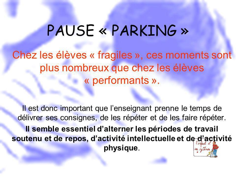 PAUSE « PARKING » Chez les élèves « fragiles », ces moments sont plus nombreux que chez les élèves « performants ». Il est donc important que lenseign