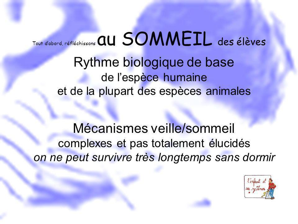 Tout dabord, réfléchissons au SOMMEIL des élèves Rythme biologique de base de lespèce humaine et de la plupart des espèces animales Mécanismes veille/