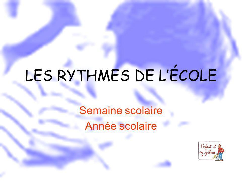 LES RYTHMES DE LÉCOLE Semaine scolaire Année scolaire
