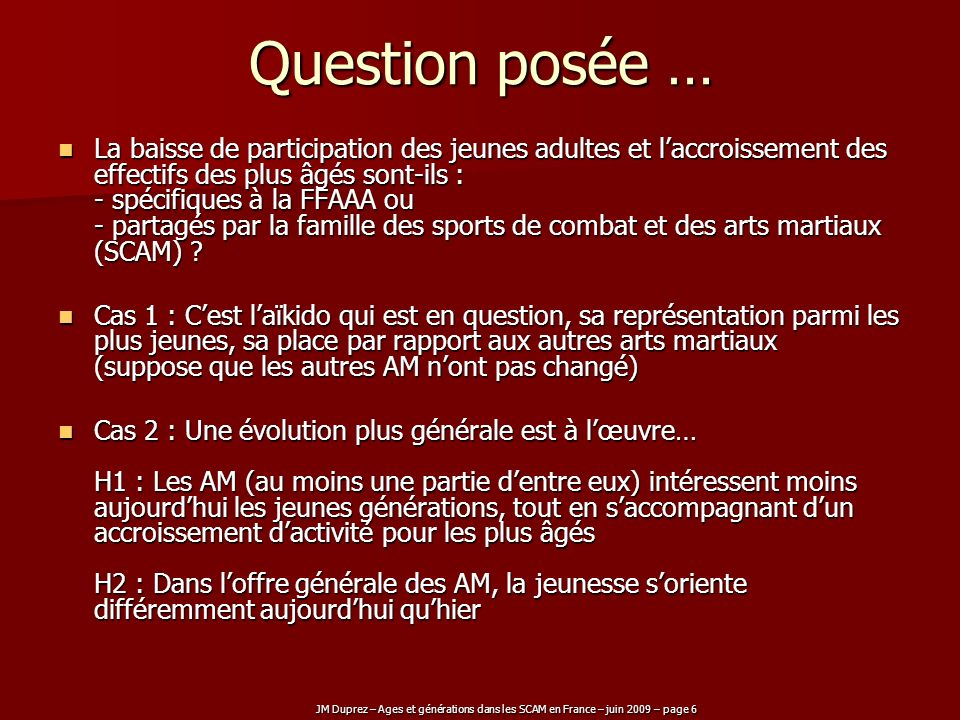 JM Duprez – Ages et générations dans les SCAM en France – juin 2009 – page 6 Question posée … La baisse de participation des jeunes adultes et laccroi