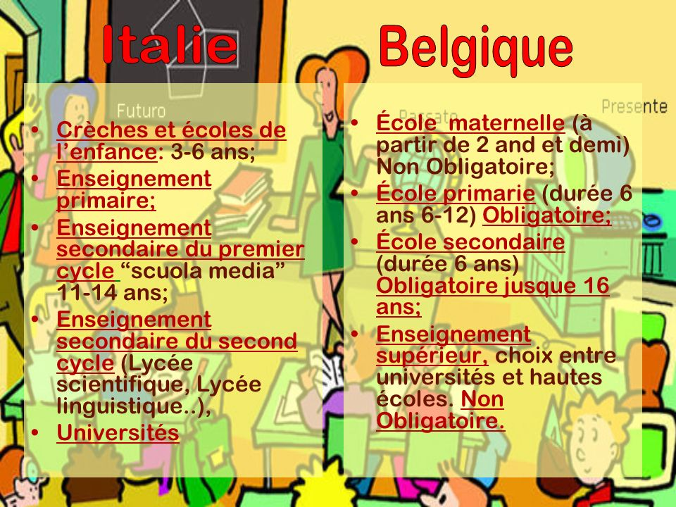 Crèches et écoles de lenfance: 3-6 ans; Enseignement primaire; Enseignement secondaire du premier cycle scuola media 11-14 ans; Enseignement secondair