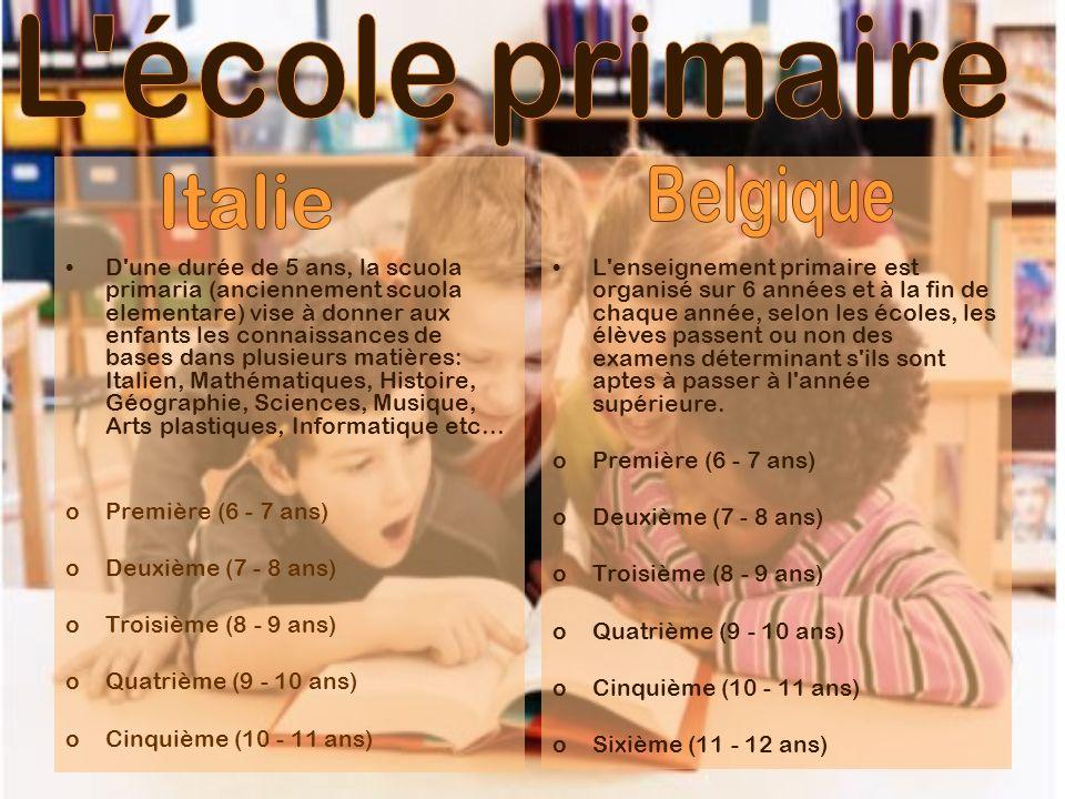 D'une durée de 5 ans, la scuola primaria (anciennement scuola elementare) vise à donner aux enfants les connaissances de bases dans plusieurs matières