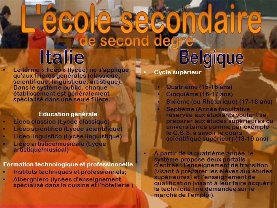 Le terme « liceo » (lycée) ne s'applique qu'aux filières générales (classique, scientifique, linguistique, artistique). Dans le système public, chaque