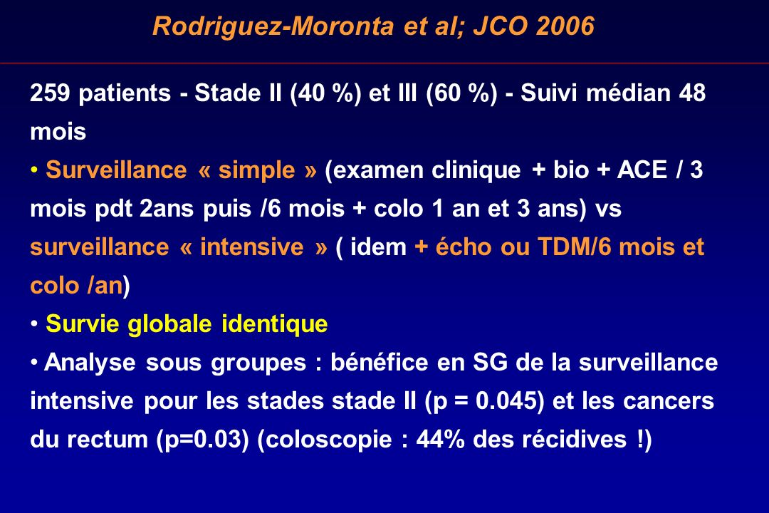 Rodriguez-Moronta et al; JCO 2006 259 patients - Stade II (40 %) et III (60 %) - Suivi médian 48 mois Surveillance « simple » (examen clinique + bio +