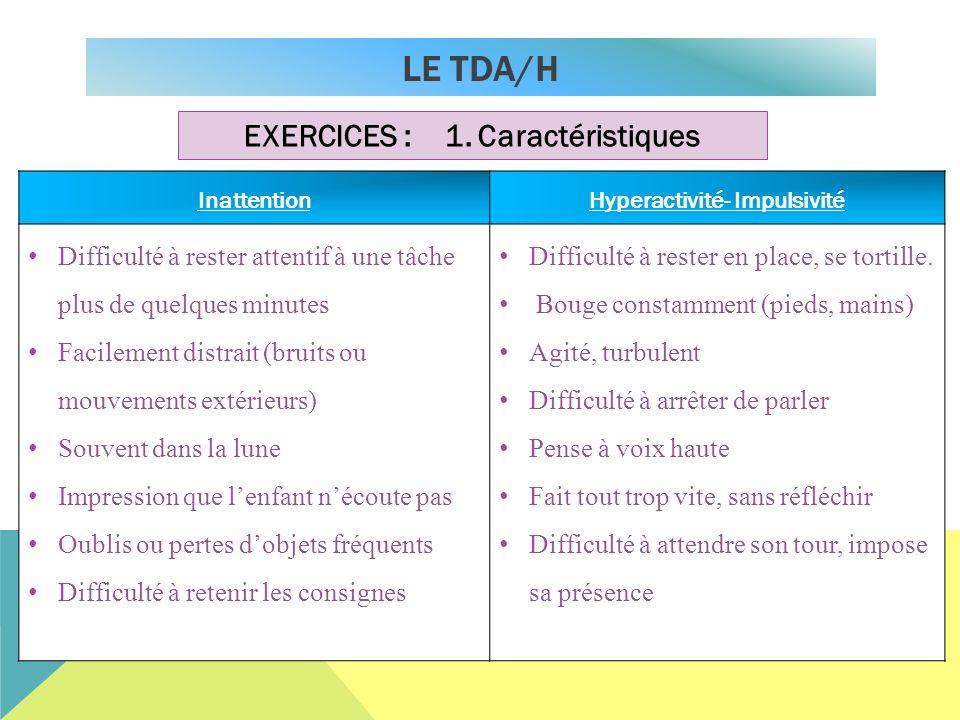 LE TDA/H EXERCICES : 1. Caractéristiques InattentionHyperactivité- Impulsivité Difficulté à rester attentif à une tâche plus de quelques minutes Facil