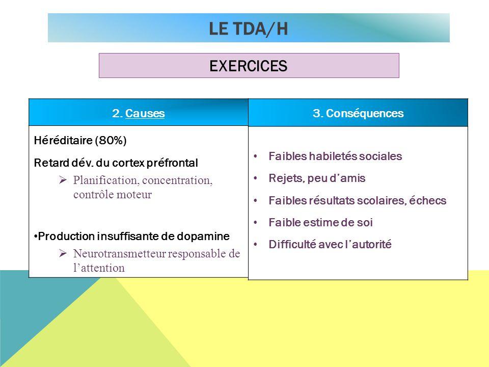 ConséquencesCauses 2. Causes Héréditaire (80%) Retard dév. du cortex préfrontal Planification, concentration, contrôle moteur Production insuffisante