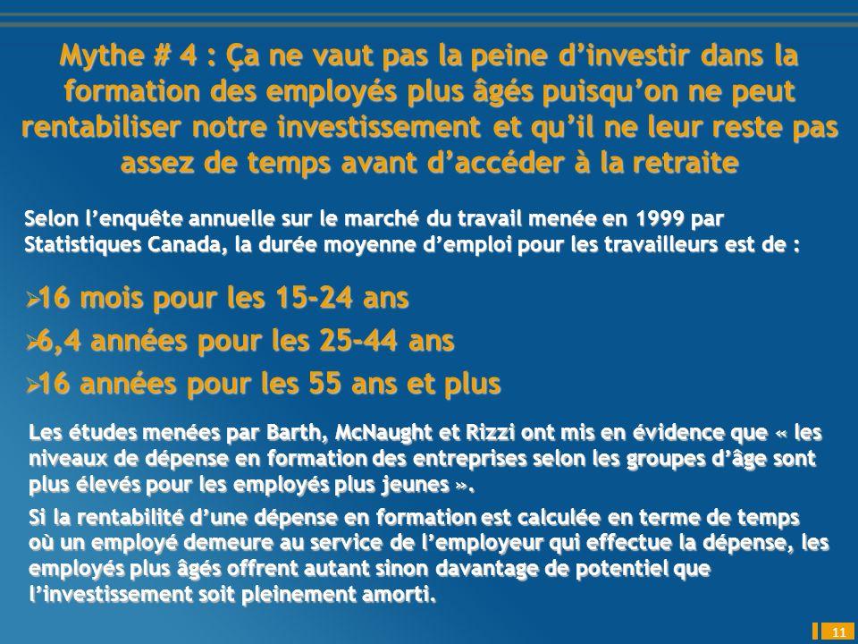 Mythe # 4 : Ça ne vaut pas la peine dinvestir dans la formation des employés plus âgés puisquon ne peut rentabiliser notre investissement et quil ne leur reste pas assez de temps avant daccéder à la retraite 11 Selon lenquête annuelle sur le marché du travail menée en 1999 par Statistiques Canada, la durée moyenne demploi pour les travailleurs est de : 16 mois pour les 15-24 ans 16 mois pour les 15-24 ans 6,4 années pour les 25-44 ans 6,4 années pour les 25-44 ans 16 années pour les 55 ans et plus 16 années pour les 55 ans et plus Les études menées par Barth, McNaught et Rizzi ont mis en évidence que « les niveaux de dépense en formation des entreprises selon les groupes dâge sont plus élevés pour les employés plus jeunes ».