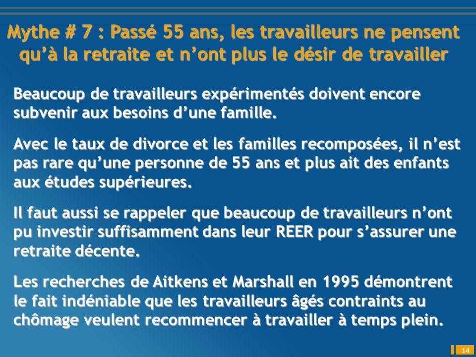 Mythe # 7 : Passé 55 ans, les travailleurs ne pensent quà la retraite et nont plus le désir de travailler 14 Beaucoup de travailleurs expérimentés doivent encore subvenir aux besoins dune famille.