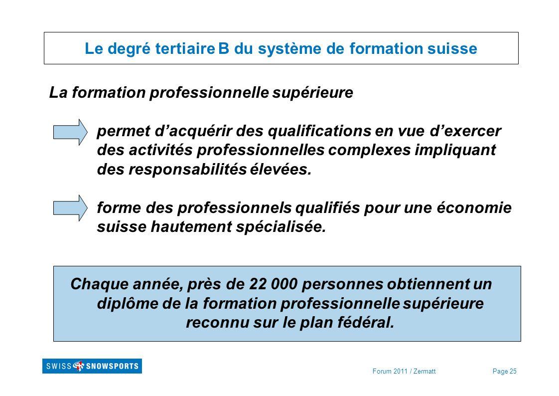 Page 25Forum 2011 / Zermatt Le degré tertiaire B du système de formation suisse La formation professionnelle supérieure permet dacquérir des qualifica