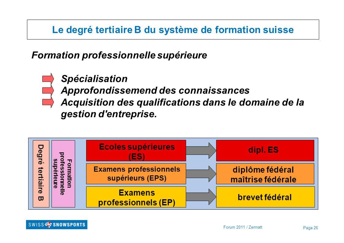 Page 26 Le degré tertiaire B du système de formation suisse Formation professionnelle supérieure Spécialisation Approfondissemend des connaissances Ac