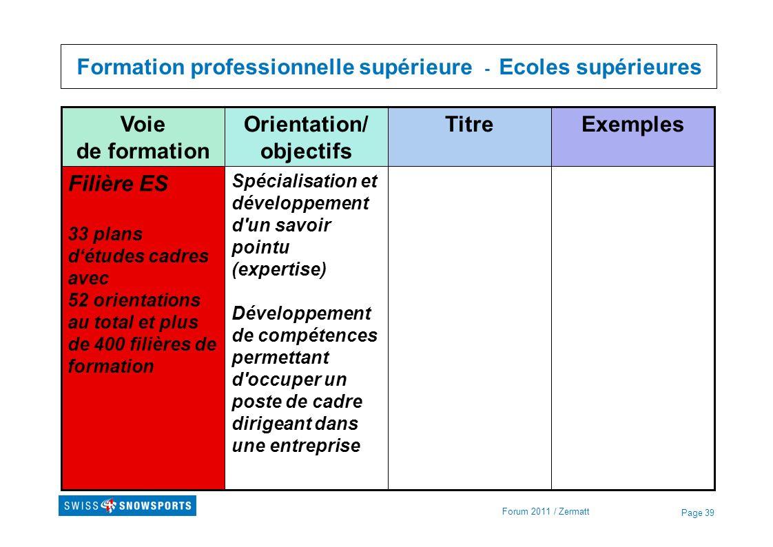 Page 39 Formation professionnelle supérieure - Ecoles supérieures Forum 2011 / Zermatt Spécialisation et développement d'un savoir pointu (expertise)
