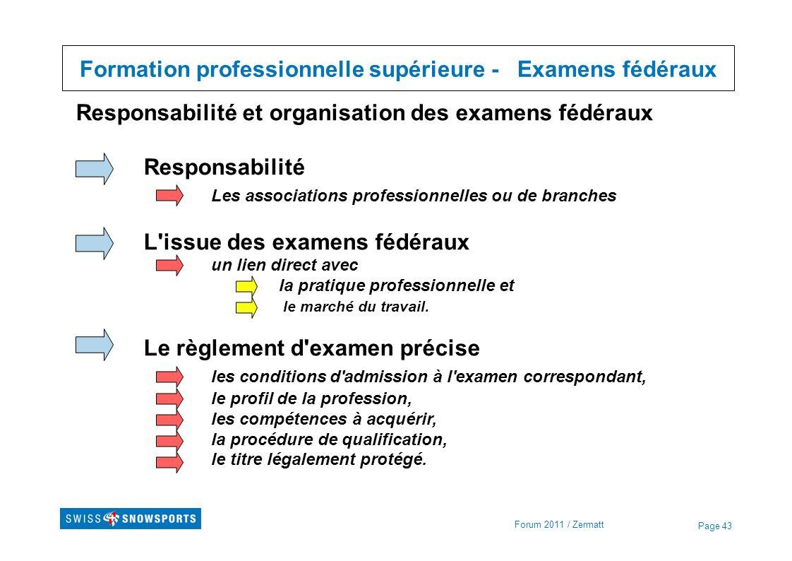 Page 43 Formation professionnelle supérieure - Examens fédéraux Forum 2011 / Zermatt Responsabilité et organisation des examens fédéraux Responsabilit
