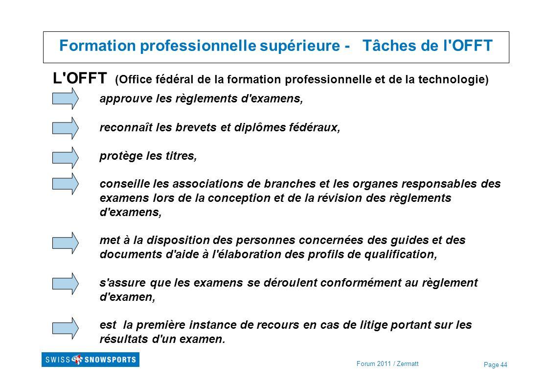 Page 44 Formation professionnelle supérieure - Tâches de l'OFFT Forum 2011 / Zermatt L'OFFT (Office fédéral de la formation professionnelle et de la t