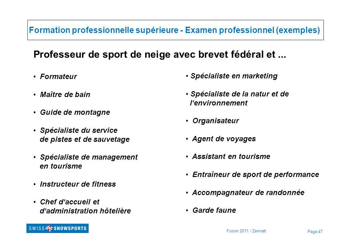 Page 47 Formation professionnelle supérieure - Examen professionnel (exemples) Forum 2011 / Zermatt Professeur de sport de neige avec brevet fédéral e