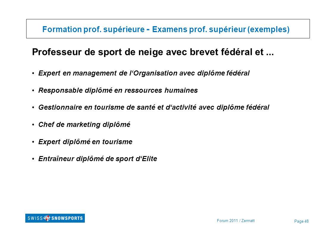 Page 48 Formation prof. supérieure - Examens prof. supérieur (exemples) Forum 2011 / Zermatt Professeur de sport de neige avec brevet fédéral et... Ex