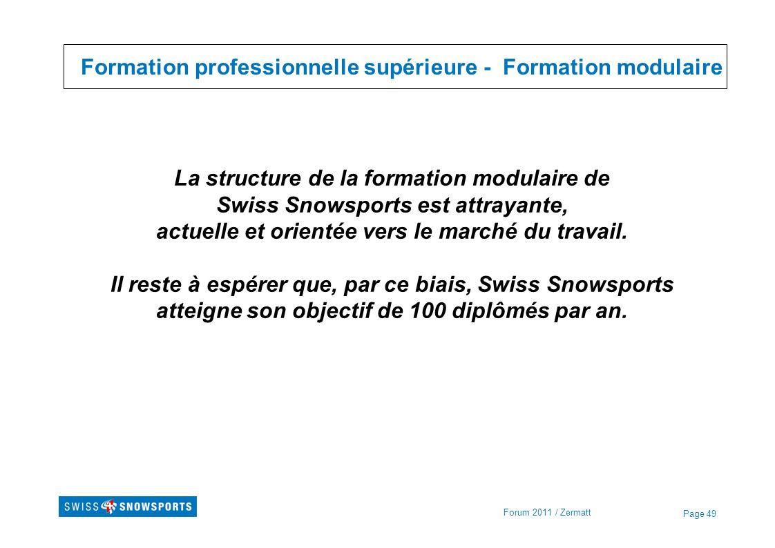 Page 49 Formation professionnelle supérieure - Formation modulaire Forum 2011 / Zermatt La structure de la formation modulaire de Swiss Snowsports est