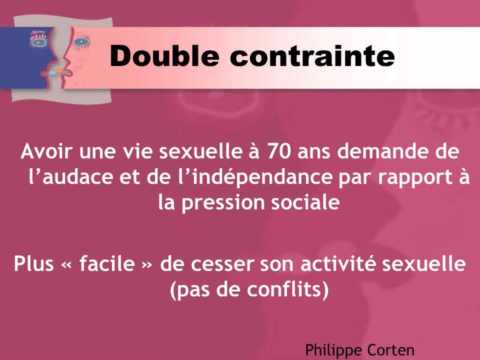 Double contrainte Avoir une vie sexuelle à 70 ans demande de laudace et de lindépendance par rapport à la pression sociale Plus « facile » de cesser son activité sexuelle (pas de conflits) Philippe Corten