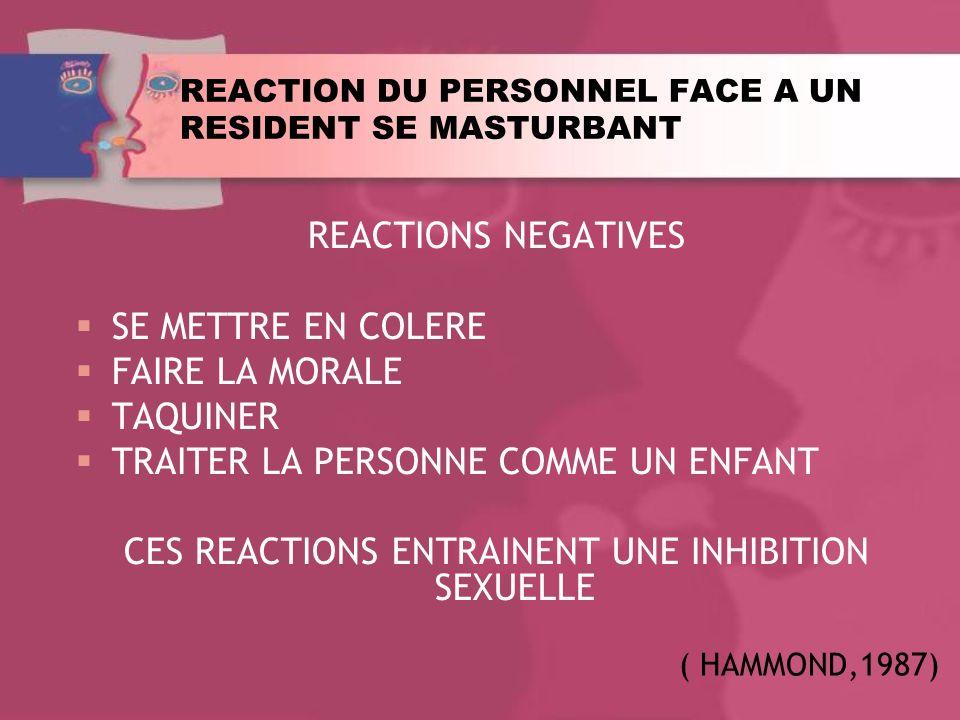 REACTION DU PERSONNEL FACE A UN RESIDENT SE MASTURBANT REACTIONS NEGATIVES SE METTRE EN COLERE FAIRE LA MORALE TAQUINER TRAITER LA PERSONNE COMME UN ENFANT CES REACTIONS ENTRAINENT UNE INHIBITION SEXUELLE ( HAMMOND,1987)
