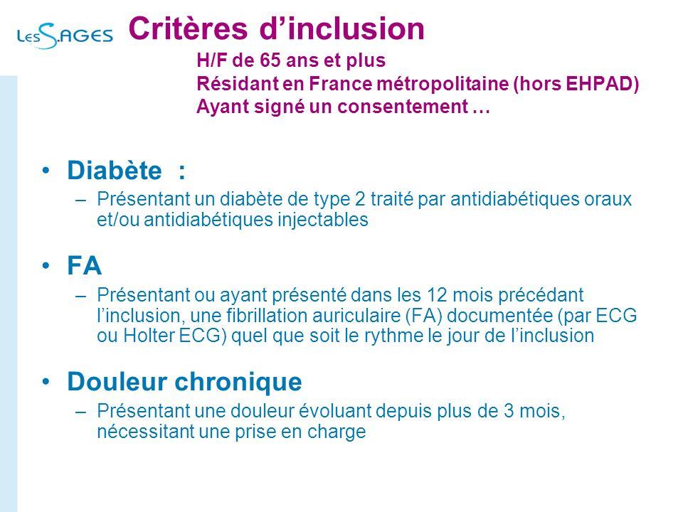 Critères dinclusion H/F de 65 ans et plus Résidant en France métropolitaine (hors EHPAD) Ayant signé un consentement … Diabète : –Présentant un diabèt