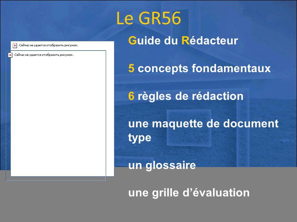 Guide du Rédacteur 5 concepts fondamentaux 6 règles de rédaction une maquette de document type un glossaire une grille dévaluation Le GR56