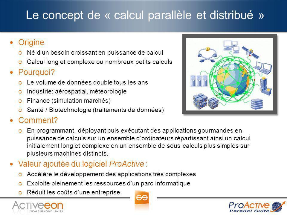 Le concept de « calcul parallèle et distribué » Origine Né dun besoin croissant en puissance de calcul Calcul long et complexe ou nombreux petits calc