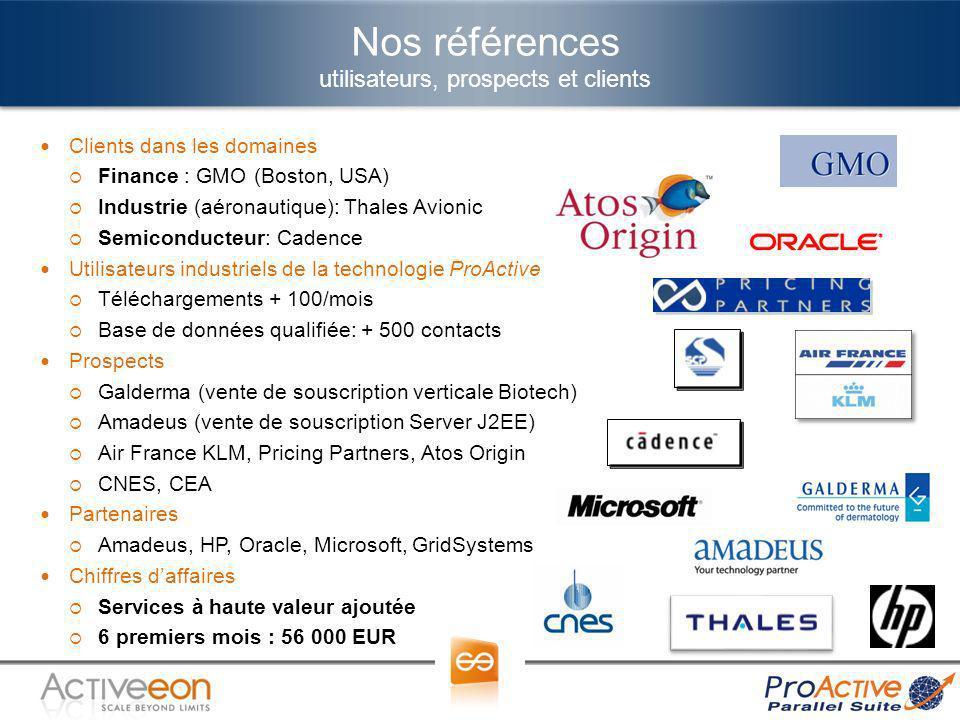 Nos références utilisateurs, prospects et clients Clients dans les domaines Finance : GMO (Boston, USA) Industrie (aéronautique): Thales Avionic Semic
