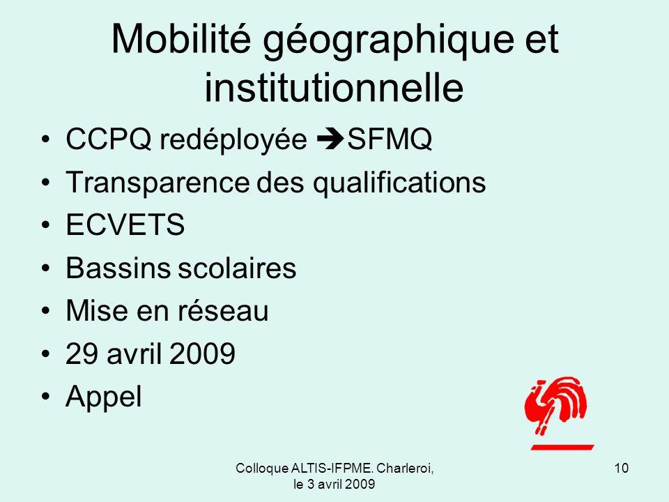 Mobilité géographique et institutionnelle CCPQ redéployée SFMQ Transparence des qualifications ECVETS Bassins scolaires Mise en réseau 29 avril 2009 Appel Colloque ALTIS-IFPME.