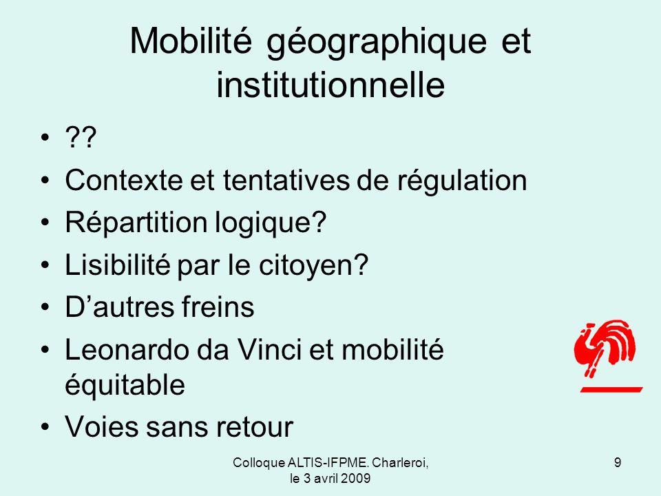 Colloque ALTIS-IFPME. Charleroi, le 3 avril 2009 Mobilité géographique et institutionnelle ?.