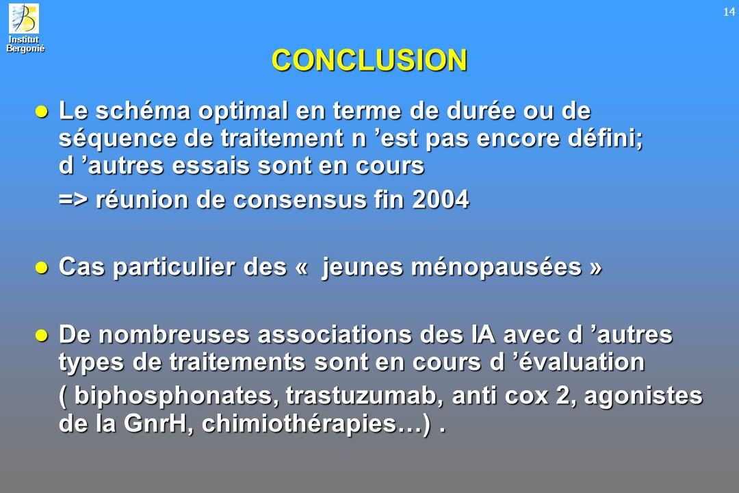 Institut Bergonié Bergonié 14 CONCLUSION Le schéma optimal en terme de durée ou de séquence de traitement n est pas encore défini; d autres essais son